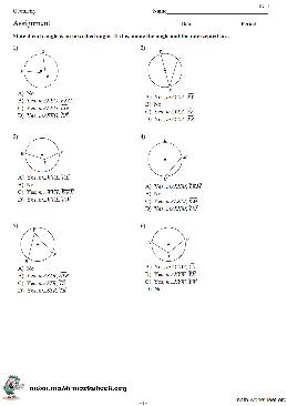 Inscribed Angles Theorem Circles Worksheets ...